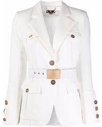 Elisabetta Franchi ベルテッド シングルジャケット - ホワイト