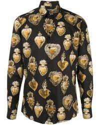 Dolce & Gabbana Sacred Heart-print Shirt - Black