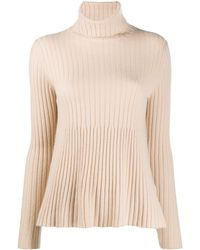 Allude Ribbed-knit Turtleneck Jumper - Natural