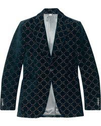 Gucci Blazer Met GG Patroon - Blauw