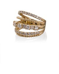 SHAY - 18kt Yellow Gold Closed Mixed Diamond Ring - Lyst