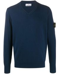 Stone Island V-neck Sweater - Blue