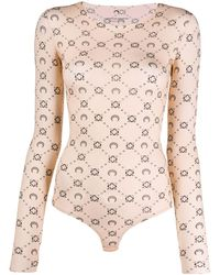 Marine Serre Iconic Body Printed Bodysuit - Natural