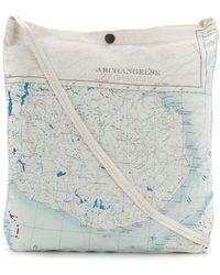 Raeburn Maps シルク ショルダーバッグ M - ホワイト