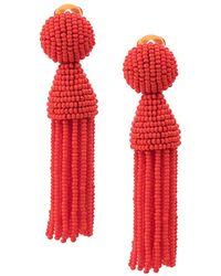 Oscar de la Renta Beaded Tassel Earrings - Red
