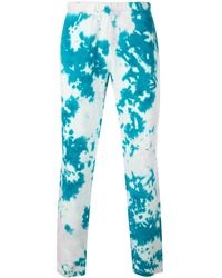 The Elder Statesman Marble Dyed Track Pants - Blue