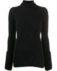 Bottega Veneta タートルネック リブニット セーター - ブラック