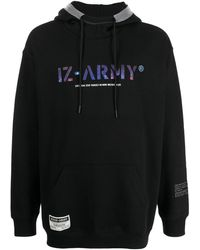 Izzue Logo-print Pullover Hoodie - Black