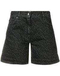 McQ - Denim Leopard Shorts - Lyst
