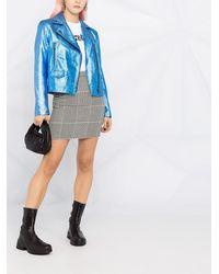 Karl Lagerfeld Байкерская Куртка С Эффектом Металлик - Синий