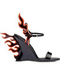 Prada - Sandalias de charol Flame - Lyst