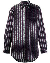 Marcelo Burlon Leopard Stripes Shirt Multicolor No Colo - ブルー