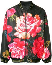 Alexander McQueen Rose Print Bomber Jacket - Zwart