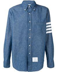 Thom Browne Striped sleeve denim shirt - Blu