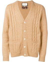 Gucci GG Intarsia Cable-knit Cardigan - Natural