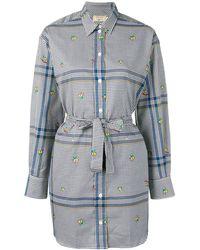 Maison Kitsuné Robe-chemise courte à carreaux - Bleu
