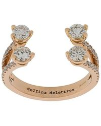 Delfina Delettrez Pave Ring Van Diamant En 18kt Wit Goud Met Stippen - Metallic