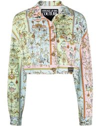 Versace Jeans Couture Logo-print Cropped Denim Jacket - Blue