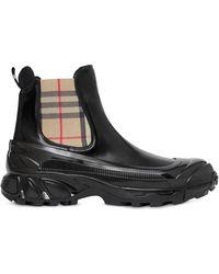Burberry Ботинки Со Вставками В Клетку Vintage Check - Черный