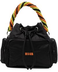 MSGM Drawstring Tote Bag - Black