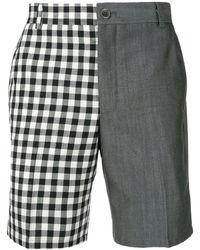 Thom Browne Shorts bicolore con pannello a quadri - Blu