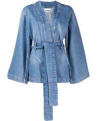 Ganni Veste en jean à taille ceinturée - Bleu