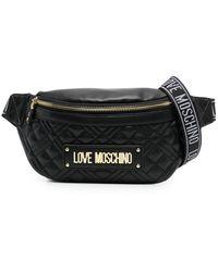 Love Moschino キルティング ロゴ ベルトバッグ - ブラック