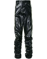 TOKYO JAMES Patent Leather Long Trousers - Black