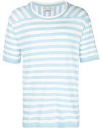 Laneus - Striped Round Neck T-shirt - Lyst