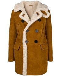 DSquared² Double-breasted Sheepskin Coat - Brown