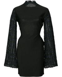 Opening Ceremony Striped Crochet Mini Dress - Black