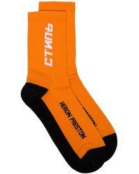 Heron Preston Calcetines con logo bordado - Naranja