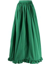 MSGM Ruffle-hem Long Skirt - Green