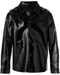 AMI ボンディング エナメルレザージャケット - ブラック