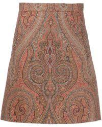 Etro Paisley Print Straight Skirt - Коричневый
