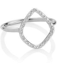 Monica Vinader Riva Diamond Hoop Ring - Metallic