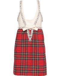 Miu Miu Shetland チェック ドレス - ホワイト