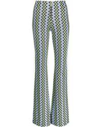 M Missoni ジグザグプリント フレアパンツ - ブルー