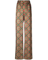 CASABLANCA Geometric-print High-waist Trousers - Red