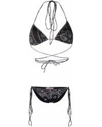 Natasha Zinko Bandana-print Bikini - Black