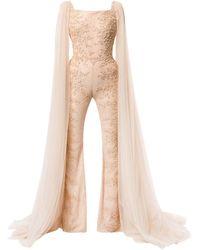 Saiid Kobeisy Embroidered Long-sleeve Jumpsuit - Natural