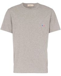 Maison Kitsuné - Grey Short Sleeved Fox Pocket T-shirt - Lyst