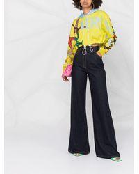 Versace Укороченное Худи С Логотипом - Желтый