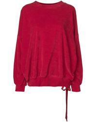 Styland ベルベット スウェットシャツ - レッド