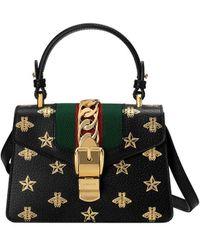 Gucci Мини-сумка 'sylvie Bee Star' - Черный