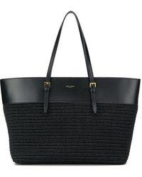 Saint Laurent Mittelgroße Handtasche aus Raffiabast - Schwarz