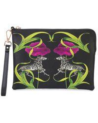 Cynthia Rowley Zebra And Floral Print Clutch - Black