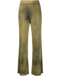 Avant Toi Ribbed Palazzo Trousers - Green