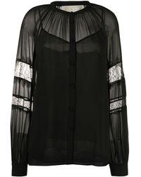 MICHAEL Michael Kors Шифоновая Блузка С Кружевными Вставками - Черный