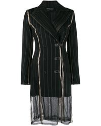 Y. Project Pinstripe Double-breasted Coat - Black